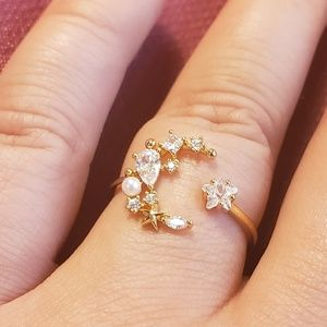 *Sparkly* Moon & Star Adjustable Ring